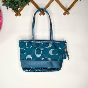 Coach Signature Stripe Teal Sateen Tote